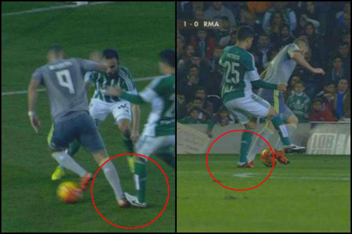 Petros pisó a Benzema en el área.