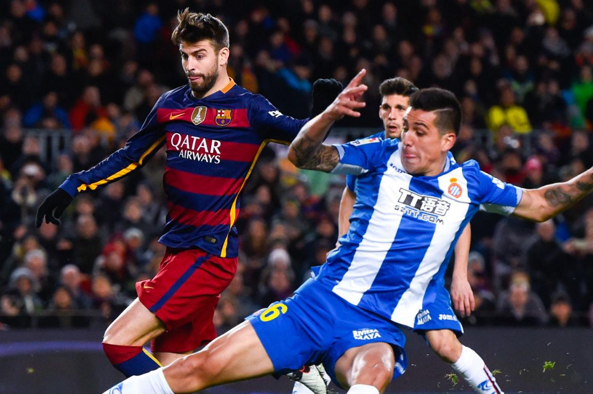 Piqué, en el partido de Copa contra el Espanyol. (Getty)