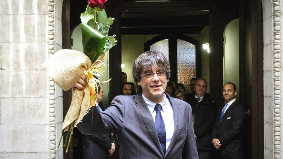 Puigdemont, el pasado lunes en el Ayuntamiento de Girona (Foto: Efe).