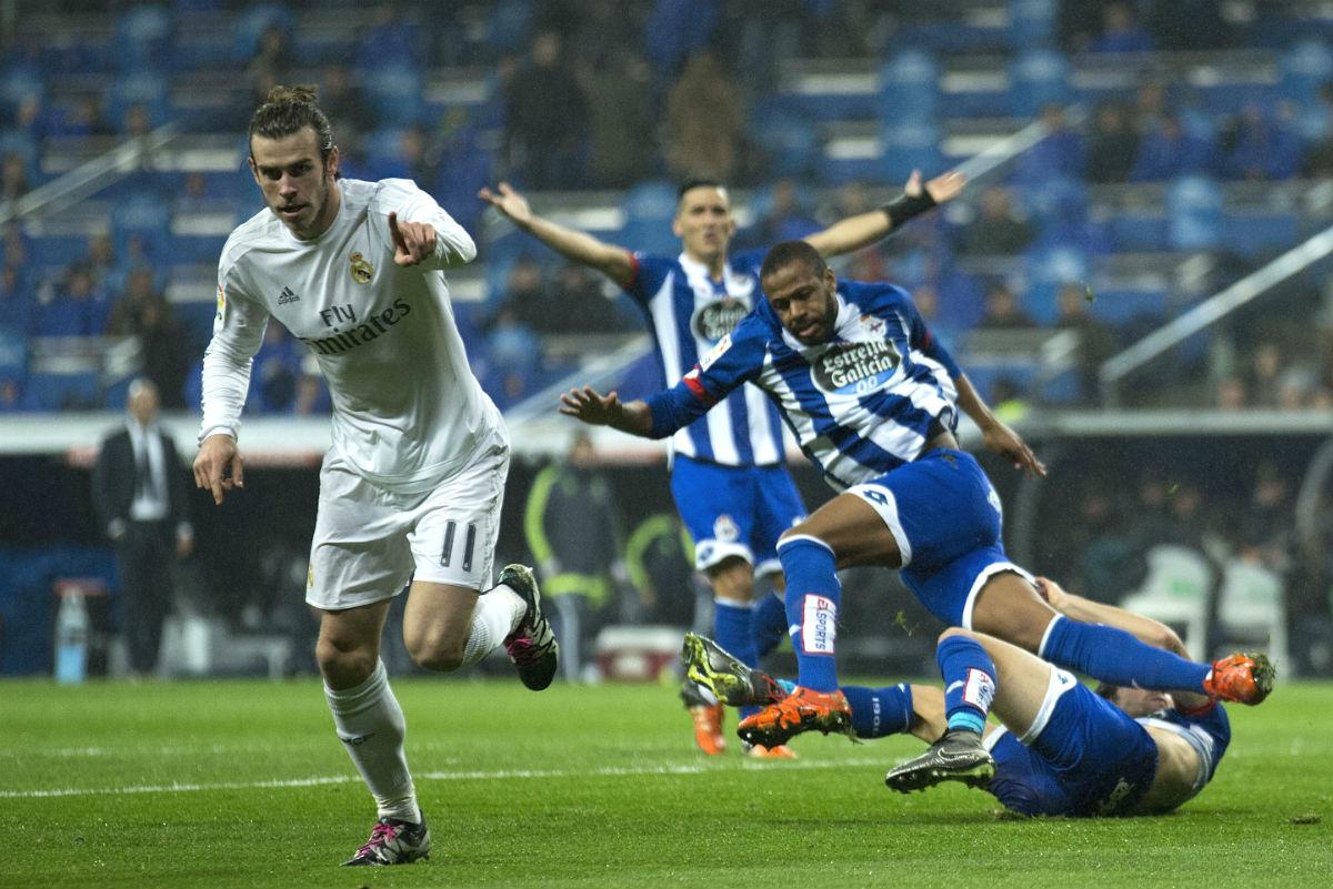 Bale celebra uno de los tres goles que marcó al Depor. (Getty)