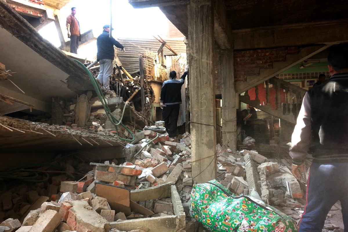 Un edificio destruido a causa del terremoto (Foto: AFP).