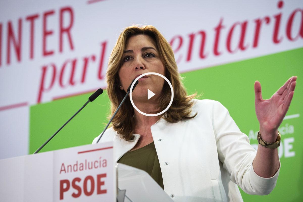 La presidenta de la Junta de Andalucía, Susana Díaz, durante su intervención en la reunión de la Interparlamentaria de su partido en Sevilla. (Foto: EFE)