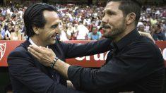 Unai Emery saluda a Simeone en el partido del Pizjuán. (Getty)