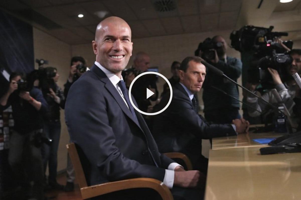 Zinedine Zidane,  junto a Emilio Butragueño en su presentación. (Reuters)