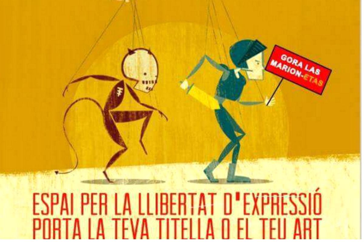 Colau da su apoyo a los titiriteros con un cartel que pone: «Gora las marion-etas». (Foto: Twitter)