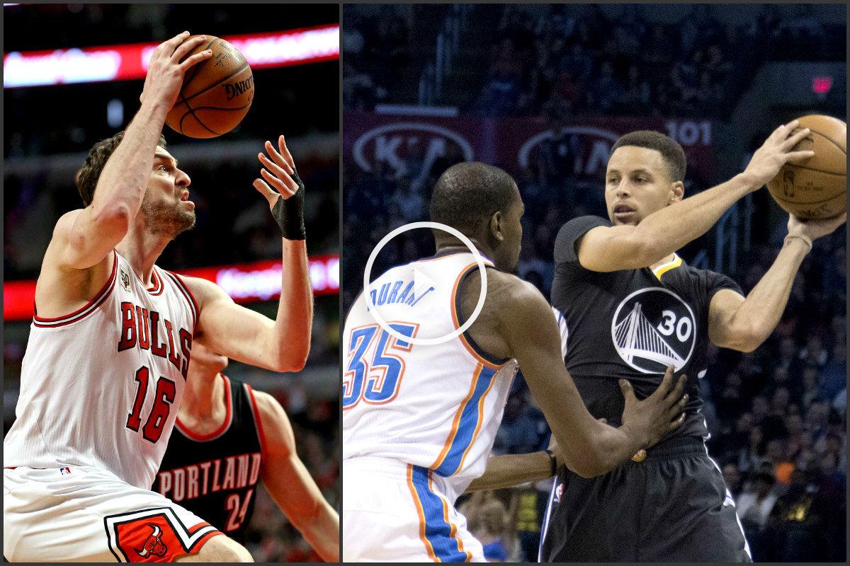 Pau Gasol y Stephen Curry brillaron en la noche NBA. (Getty)