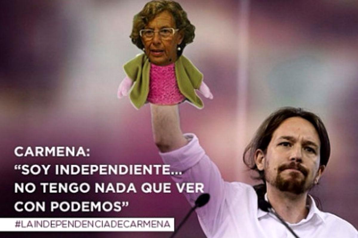 Montaje del PP de Madrid para señalar la relación entre Podemos y el consistorio madrileño. (Foto: PP de Madrid)