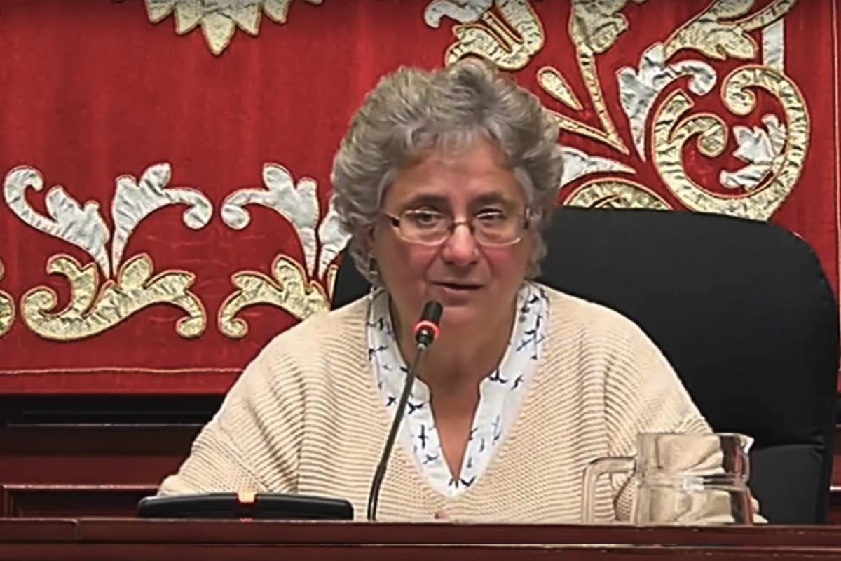 La edil de Ahora Madrid Galcerán presidiendo la Junta de Tetuán. (Foto: Streaming Tetuán)