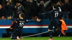 Ibrahimovic celebra el primer tanto del PSG ante el Chelsea. (Getty)