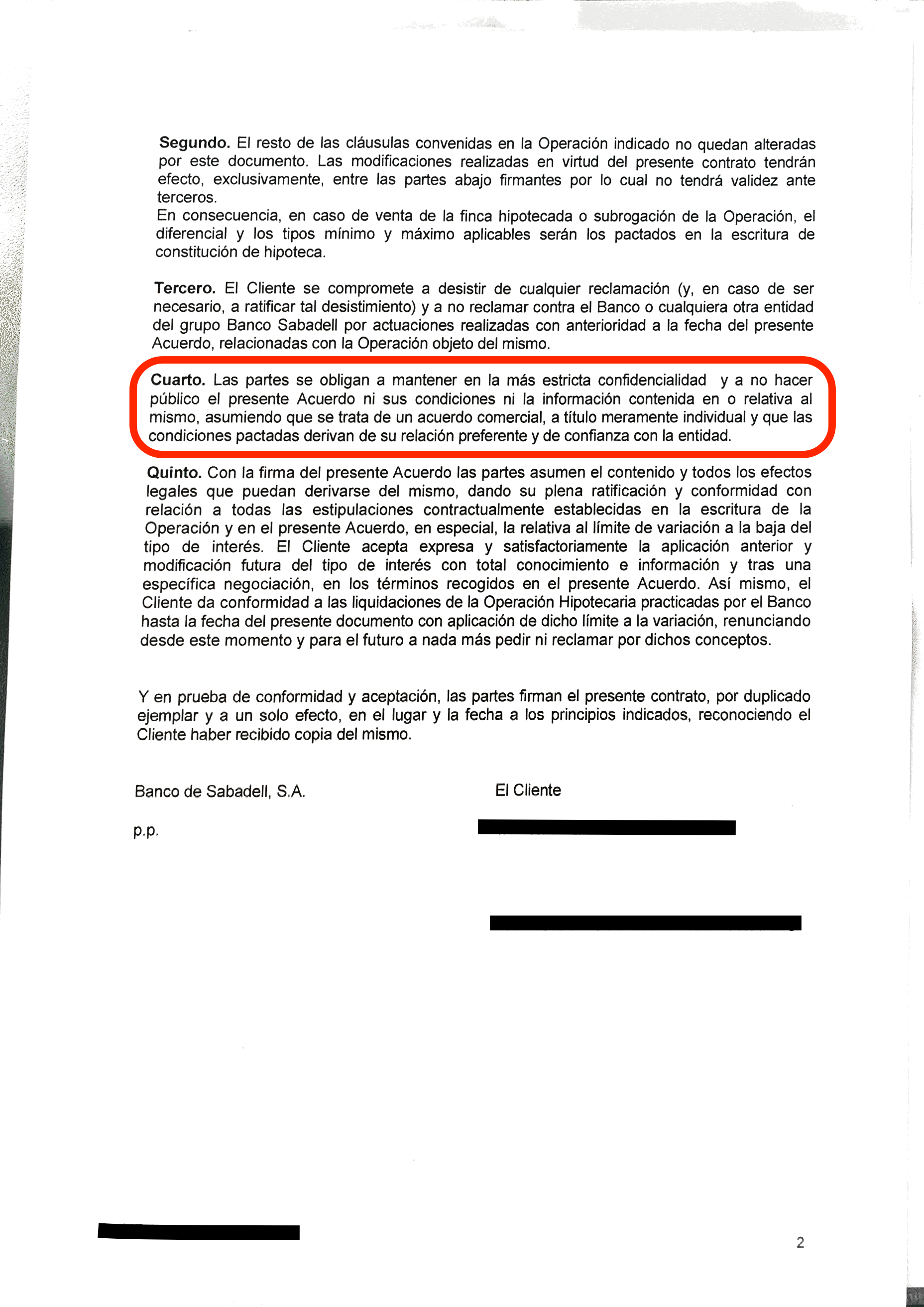 Sabadell obliga a sus clientes a firmar un pacto de for Validez acuerdo privado clausula suelo