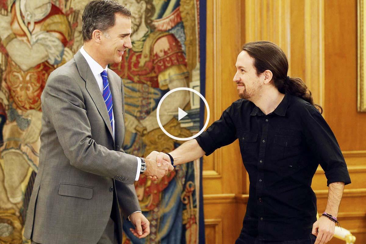 Pablo Iglesias, durante su reunión con el Rey Felipe VI (Foto: EFE)