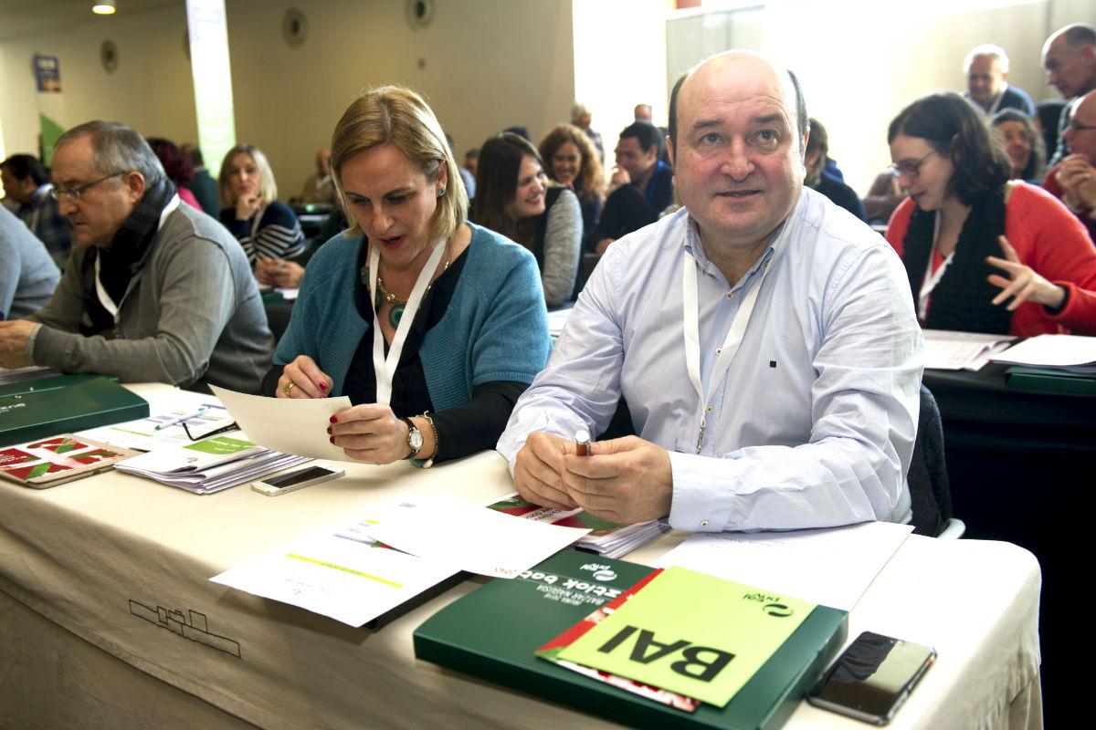 Andoni Ortuzar en la Asamblea General del PNV (Foto: Efe).