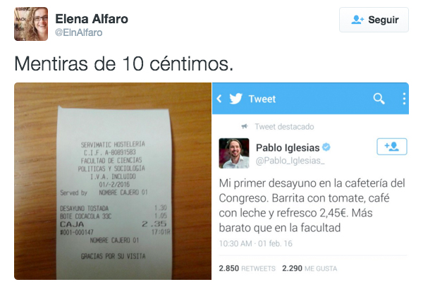 Imagen del tuit de respuesta a Pablo Iglesias. (Foto: @ElenAlfaro)