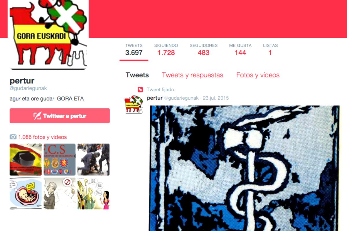 Una de las cuentas que lanzan mensajes a favor de la banda terrorista ETA en Twitter