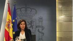 Soraya Saénz de Santamaría en rueda de prensa tras el Consejo de Ministros. (Foto: Nuria Val)