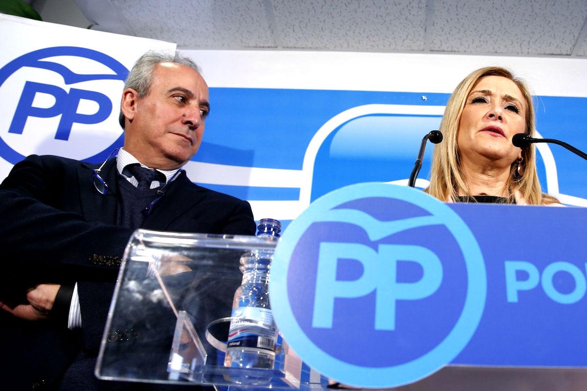Juan Carlos Vera y Cristina Cifuentes, máximos responsables de la gestora del PP de Madrid. (Foto: EFE)