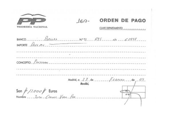 Recibo aportado por Vera a este diario para justificar el 'préstamo' recibido por el PP.