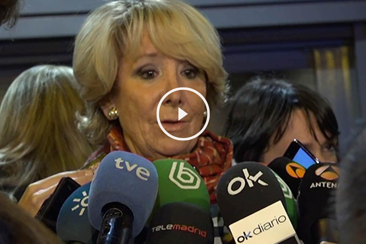 Esperanza Aguirre en la rueda de prensa.