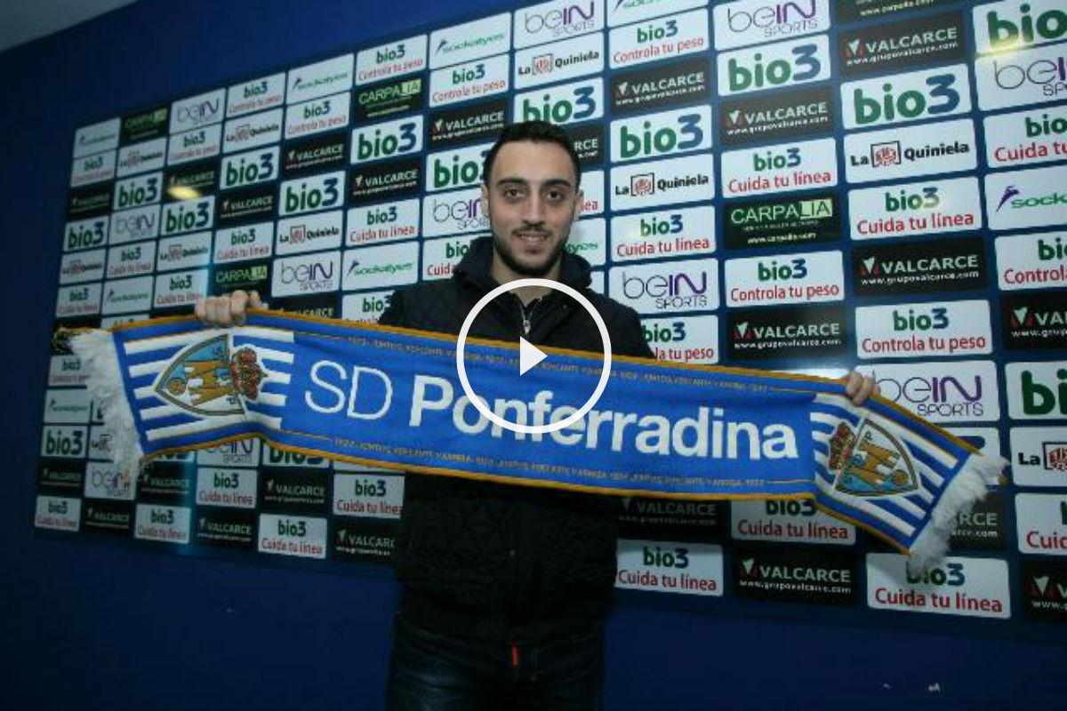 Sergio Aguza, en su presentación como jugador de la Ponferradina. (Imagen: sdponferradina.com)