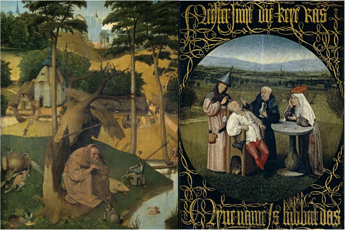 Tentaciones de San Antonio Abad y Extracción de la piedra de la locura dos obras de la colección de El Prado que forman parte de la polémica