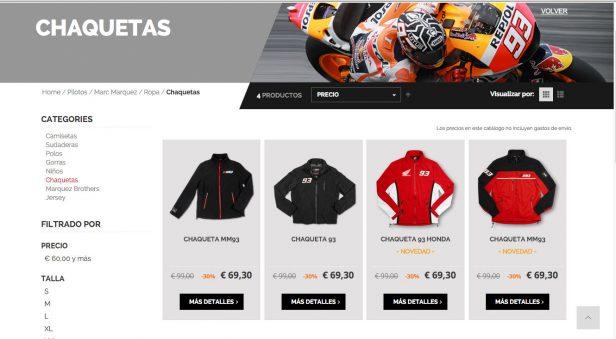 Imagen de la web de merchandising de Rossi.