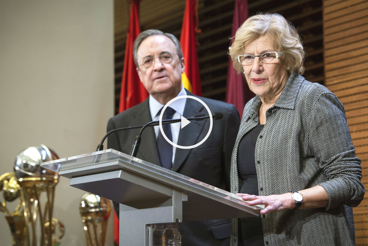 Manuela Carmena, en su discurso junto a Florentino Pérez. (Foto: EFE)