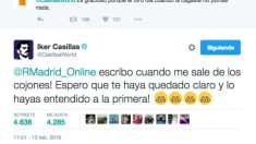 Casillas se picó con un tuitero.