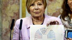 Celia Villalobos muestra la nueva configuración del hemiciclo. (Foto: EFE)