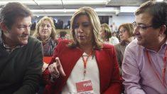Javier Fernández, Susana Díaz y Fernández Vara. (Foto: Efe).