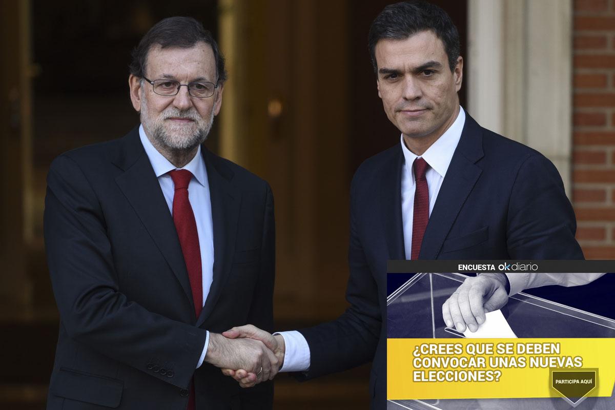 Mariano Rajoy y Pedro Sánchez en un encuentro en La Moncloa. (Foto: AFP)