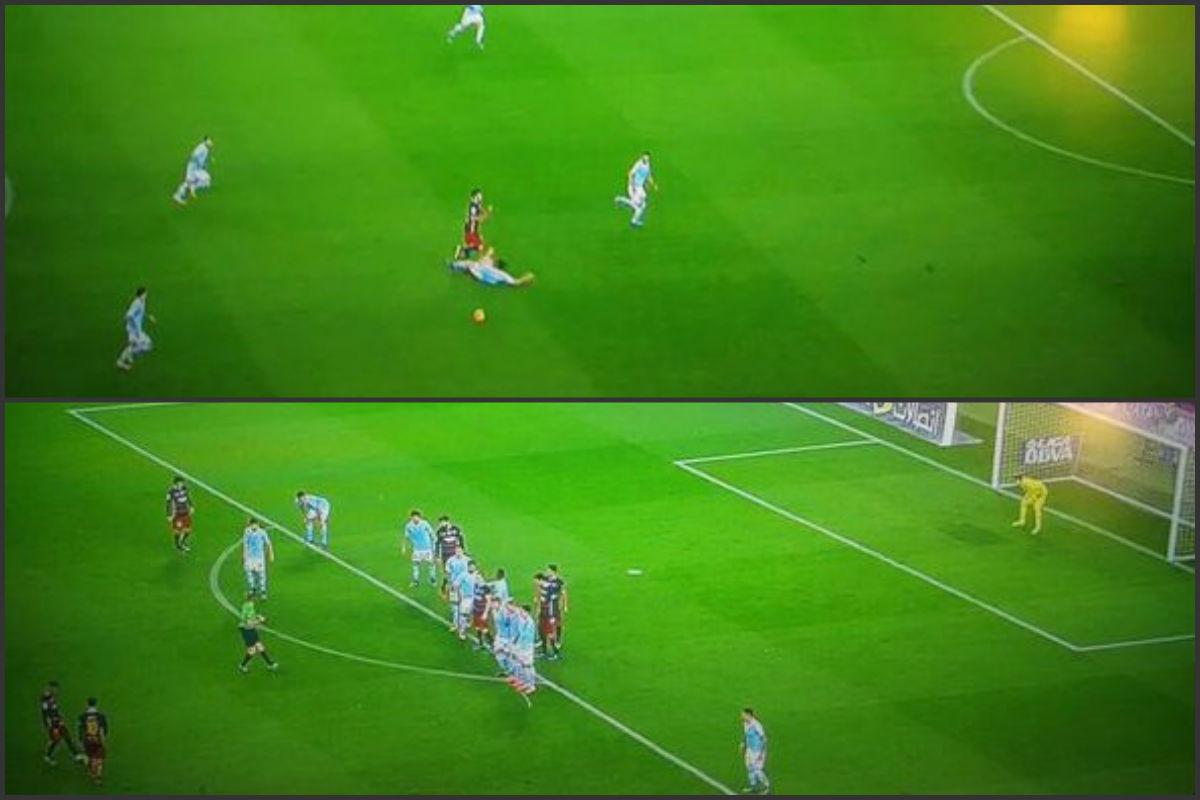 Messi no lanzó la falta desde el lugar donde se produjo.