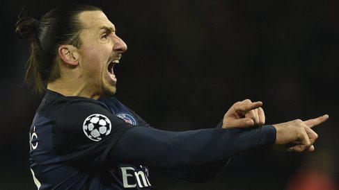 Ibrahimovic celebra un gol con el PSG. (AFP)