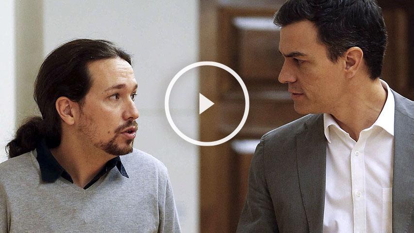 Sánchez e Iglesias se han reunido este viernes en el Congreso de los Diputados. (Foto: EFE)