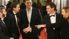 Iglesias, Sánchez y Rivera coinciden en los Goya. (Foto: EFE)