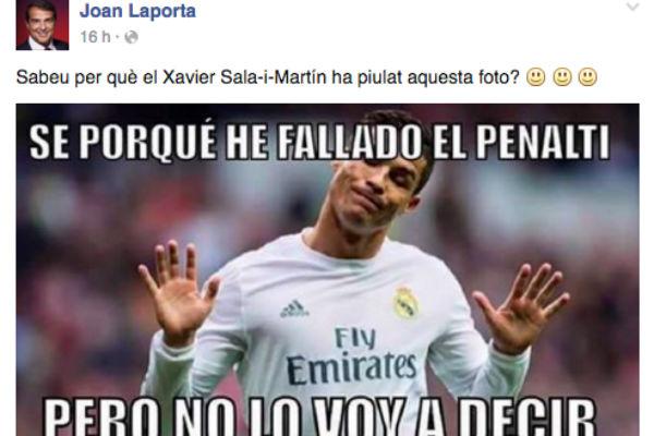 Laporta se mofó de Cristiano en Facebook.