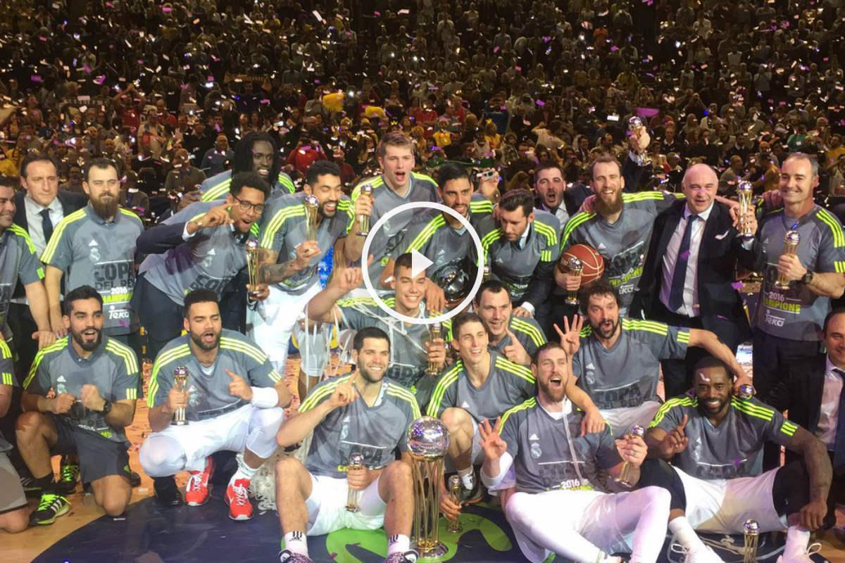 El Real Madrid festeja la Copa del Rey de baloncesto. (Imagen:@RMBaloncesto)