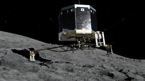 Una simulación virtual del robot Philae posándose en el cometa. (Foto: ESA)