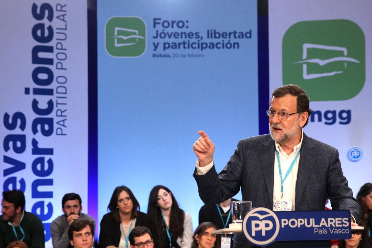 Mariano Rajoy durante us intervención. (Foto: EFE)