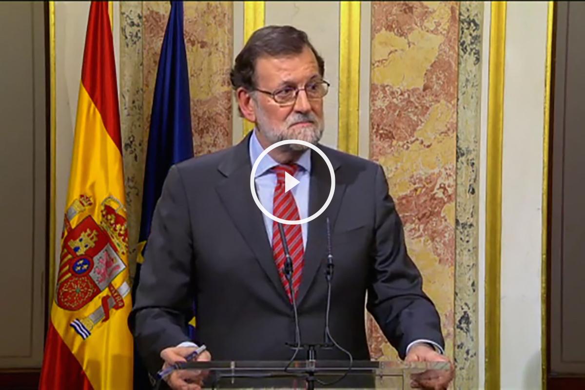 Mariano Rajoy en la rueda de prensa posterior a su reunión con Pedro Sánchez