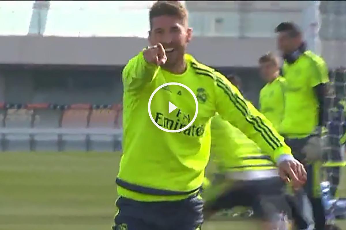 Sergio Ramos marcó un golazo en el entrenamiento.