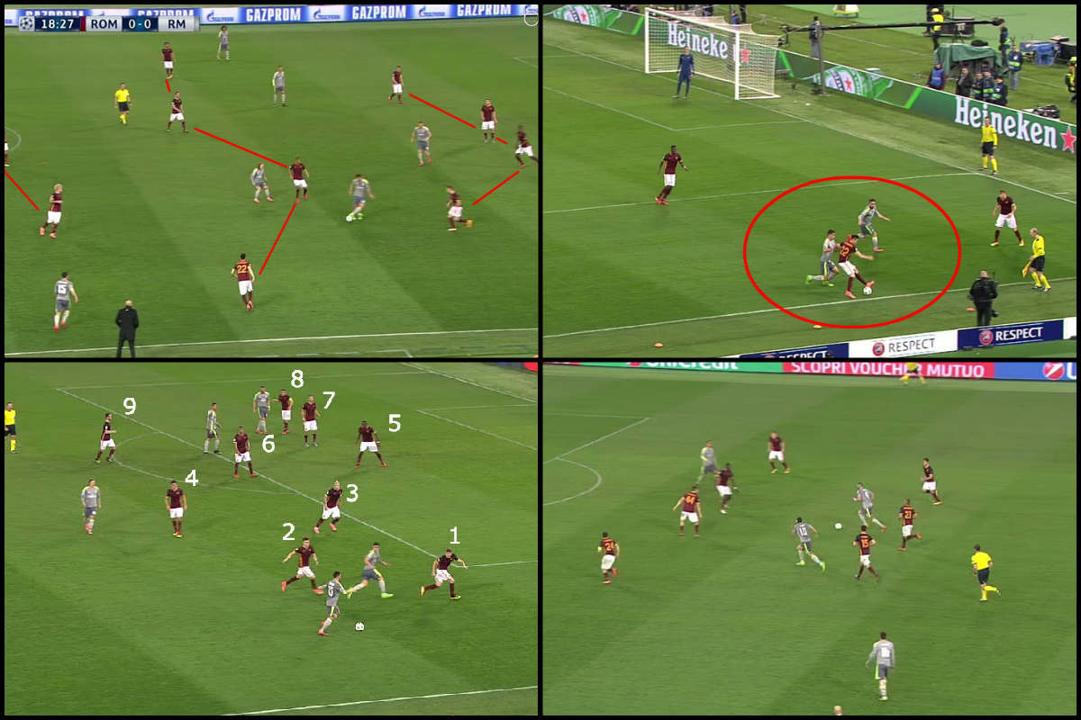 El Real Madrid consiguió romper el sistema defensivo de la Roma.