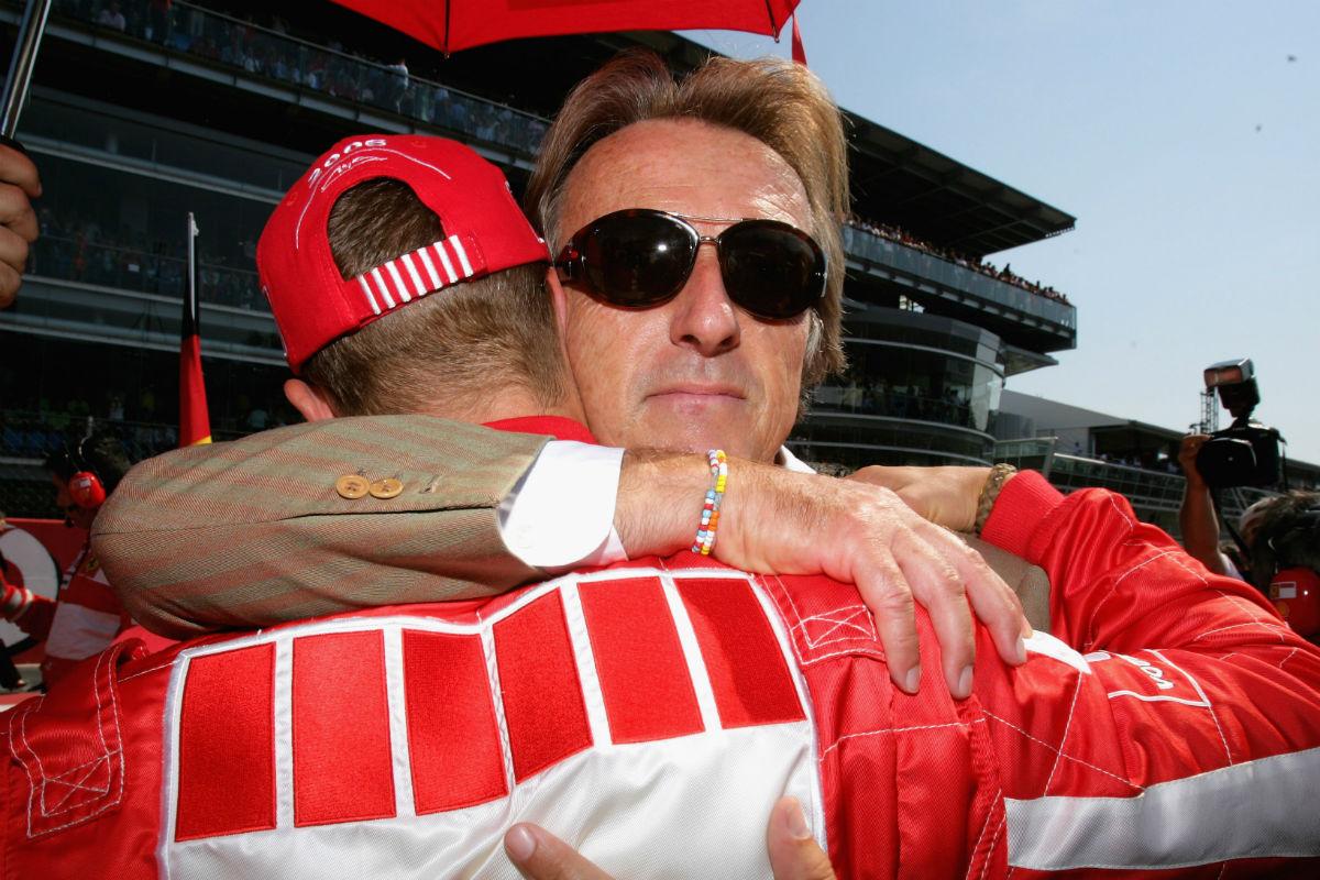 Di Montezemolo abraza a Schumacher en Monza en el año 2006. (Getty)