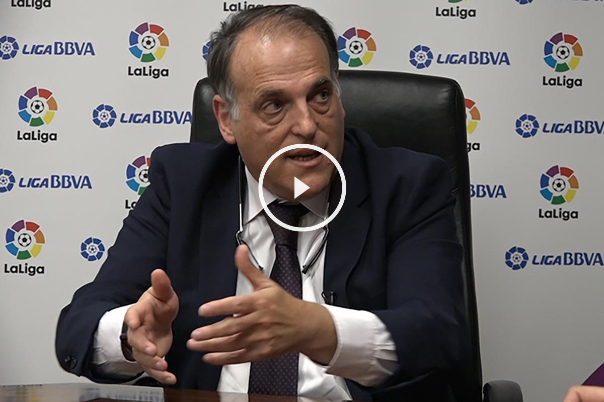 Javier Tebas, en un momento de la entrevista con OKDIARIO.