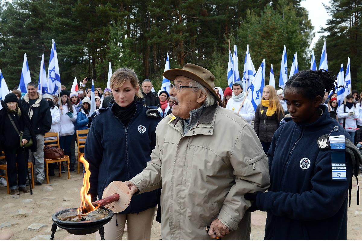 Samuel Willenberg, en una conmemoración en Treblinka. (AFP)