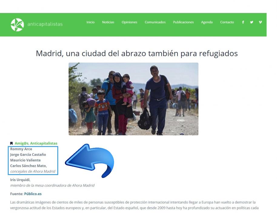 Captura de la web de Anticapitalistas donde se refleja la vinculación de concejales de Ahora Madrid con este colectivo
