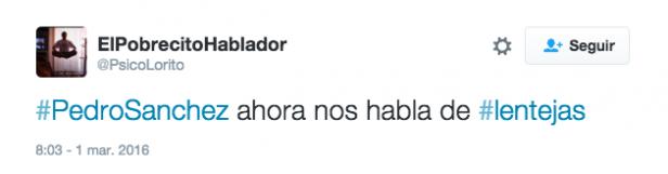 Tuit gastronomía Pedro Sanchez