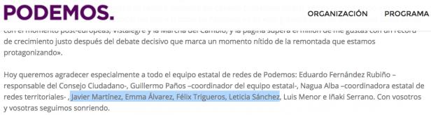 Captura de pantalla de la página web de Podemos.