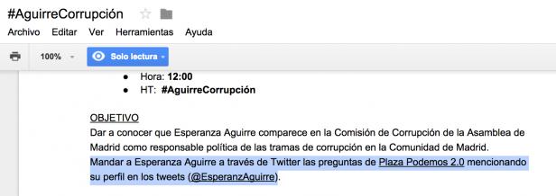 Captura de pantalla del documento de trabajo que tenía como objetivo inundar el perfil de Twittter de Esperanza Aguirre.
