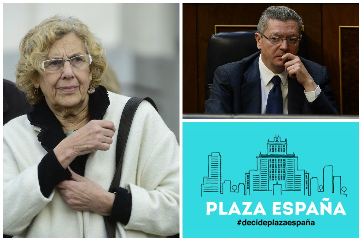 La alcaldesa Carmena, el exedil Gallardon y la cabecera de la plataforma de Participación. (Fotos: AFP)