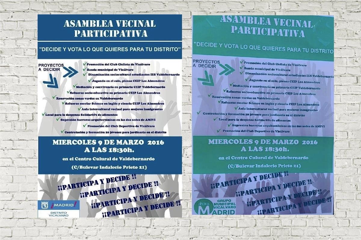 Cartelería de Ahora Madrid imitando a la del Ayuntamiento